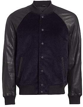 Hudson Jeans Jeans Men's Leather Sleeve Corduroy Varsity Jacket