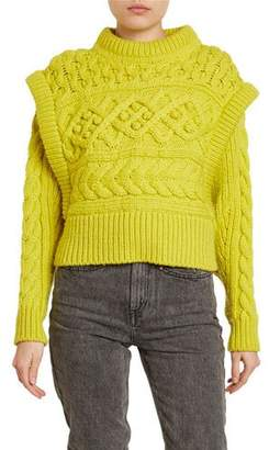 Isabel Marant Milane Cable-Knit Trompe-L'Oeil Sweater