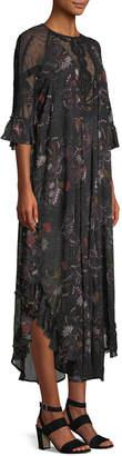 Free People Spirit Of The Wild Beaded Illusion Maxi Dress