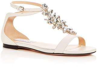 Jimmy Choo Women's Averie Embellished Leather T-Strap Sandals
