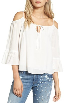 Women's Sun & Shadow Off The Shoulder Ruffle Top $45 thestylecure.com