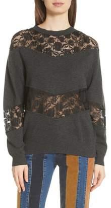 See by Chloe Lace Panel Wool Blend Sweatshirt