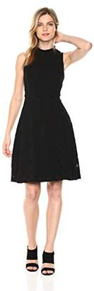 Nine West Women's Sleeveless Mockneck Fit and Flare Dress