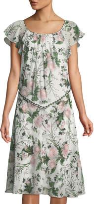 Max Studio Floral Cape-Back Shift Dress