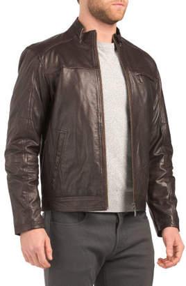 Rocker Zip Pocket Leather Jacket