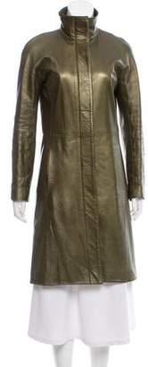 Herve Leger Knee-Length Leather Coat