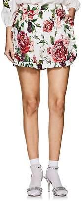 Dolce & Gabbana Women's Peony-Print Matte Stretch-Silk Charmeuse Shorts
