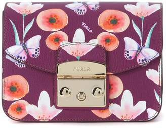 Furla Metropolis Mini Purple Leather Shoulder Bag With Flowers And Butterflies.