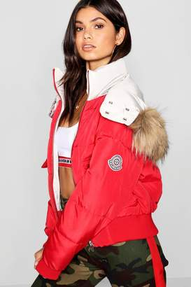 boohoo Contrast Hood Faux Fur Trim Puffer Jacket