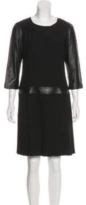 The Kooples Leather Accented Long Sleeve Dress