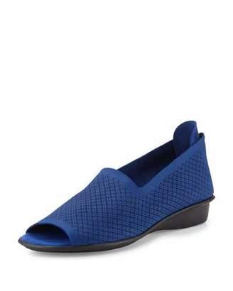 Sesto Meucci Eadan Open-Toe Demi-Wedge Sandal, Bluette $155 thestylecure.com