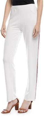 Escada Fair-Isle Straight-Leg Pants with Side Trim