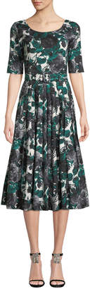 Samantha Sung Florance Floral-Print 1/2-Sleeve Midi Dress