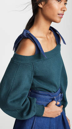 ADEAM Denim Tie Sweater