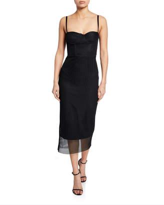 Milly Sweetheart Mesh Bustier Midi Dress