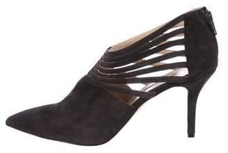 Oscar de la Renta Suede Pointed-Toe Ankle Boots