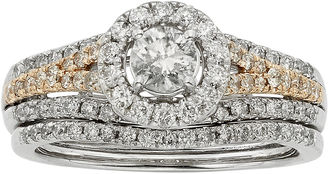 MODERN BRIDE 1 CT. T.W. Certified Diamond 14K Two-Tone Gold Bridal Ring Set $5,500 thestylecure.com