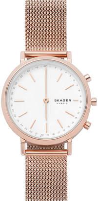 Skagen Women Mini Hald Rose Gold-Tone Stainless Steel Mesh Bracelet Hybrid Smart Watch 34mm