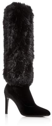 Giuseppe Zanotti Women's Rabbit Fur & Velvet Pointed Toe Boots
