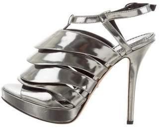 Jerome C. Rousseau Metallic Patent Leather Sandals