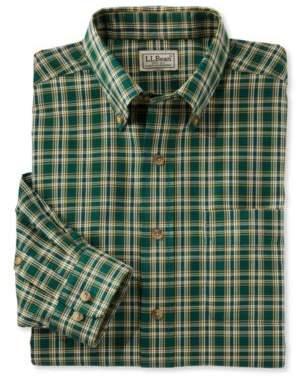 L.L. Bean L.L.Bean Wrinkle-Free Twill Sport Shirt, Traditional Fit Plaid