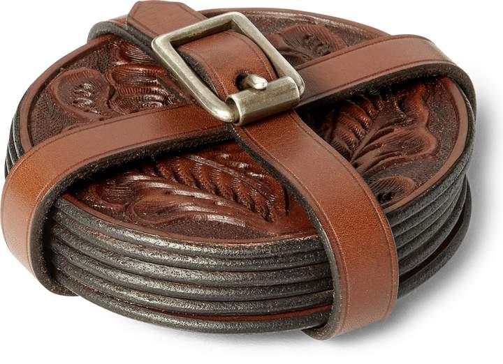 Ralph Lauren Tooled Leather Coaster Set