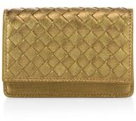 Bottega Veneta Bottega Veneta Intrecciato Metallic Leather Flap Wallet