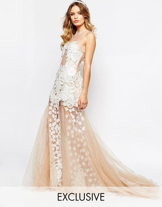 A Star Is Born Bridal Luxe Floral Applique Maxi Dress With Full 3D Applique Skirt $461 thestylecure.com