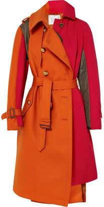 Sacai Paneled Wool, Cotton-twill And Quilted Shell Coat - Papaya