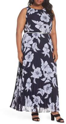 Eliza J Floral Belted Pleated Maxi Dress (Plus Size)