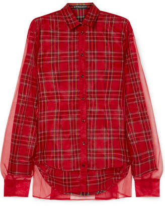 Y/Project Tartan Twill And Organza Shirt - Red