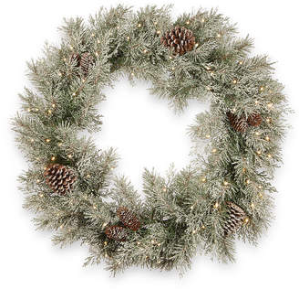 """National Tree Company 30"""" Feel Real Frosted Mountain Spruce Wreath with Cones & 100 Warm White Battery Operated Led Lights w/Timer"""
