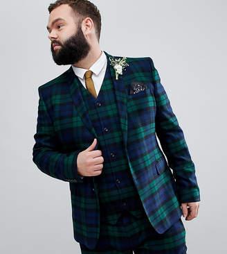 e41a1cd5c35357 Asos Design DESIGN Plus wedding super skinny suit jacket in blackwatch tartan  check