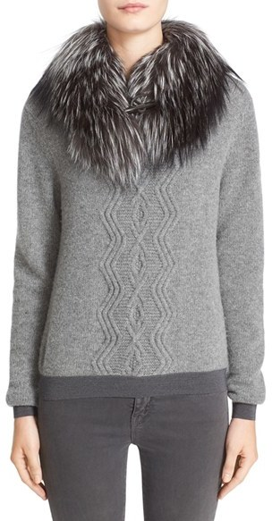 MonclerWomen's Moncler Wool & Cashmere Sweater With Removable Genuine Fox Fur Collar