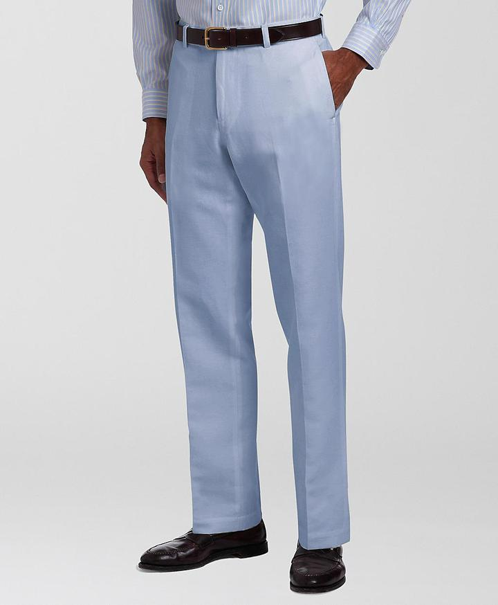 Brooks Brothers Milano Plain-Front Linen and Cotton Chinos