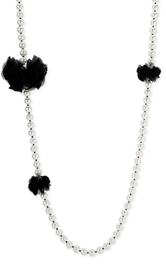 Betsey Johnson 'School Girl' Tulle Trim Pearl Necklace