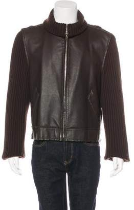 Dolce & Gabbana Leather-Trimmed Wool Sweater