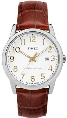 Timex Men's Easy Reader Signature Brown/Silver-Tone Watch, Leather Strap