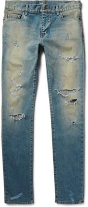 Skinny-Fit 16cm Hem Distressed Washed Stretch-Denim Jeans $890 thestylecure.com