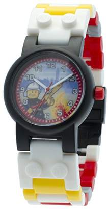 Lego City Kids Buildable Watch with Link Bracelet and Minifigure | red/yellow | plastic | 28mm case diameter| analogue quartz | boy girl | official