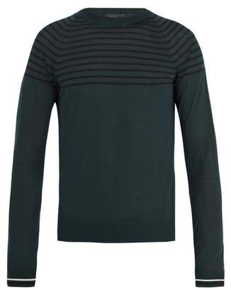 Prada - Crew Neck Striped Wool And Cashmere Blend Sweater - Mens - Khaki