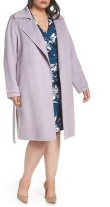 Badgley Mischka Double Face Wool Blend Wrap Front Coat