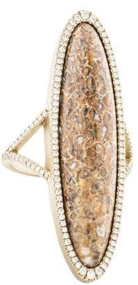 Monique Péan 18K Diamond-Accented Fossilized Dinosaur Bone Cocktail Ring