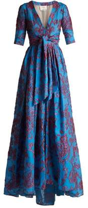 Carolina Herrera Knotted Floral Devore Gown - Womens - Blue Multi