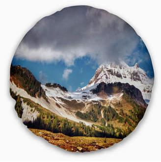 """Whistler Designart Mountain British Columbia Throw Pillow - 16"""" Round"""