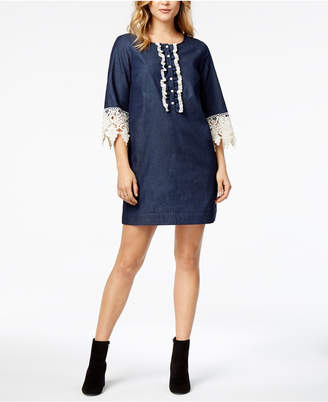 Kensie Lace-Trim Chambray Shirtdress
