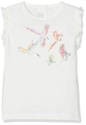 Mamas and Papas Baby Girls' Bird Print Tee T-Shirt, (White Smhq), (Size:)
