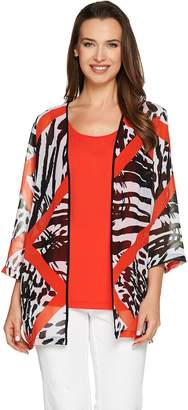 Bob Mackie Bob Mackie's 3/4 Sleeve Printed Kimono with Scoop Neck Tank