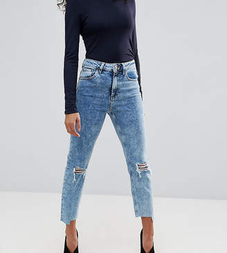 Asos FARLEIGH High Waist Slim Mom Jeans in Pine Mottled Wash with Busts