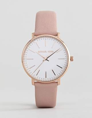 Michael Kors MK2741 Pyper Leather Watch In Pink 38mm